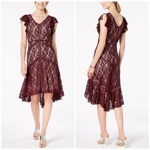 Taylor Burgundy Flutter Sleeve Lace Midi Dress 8